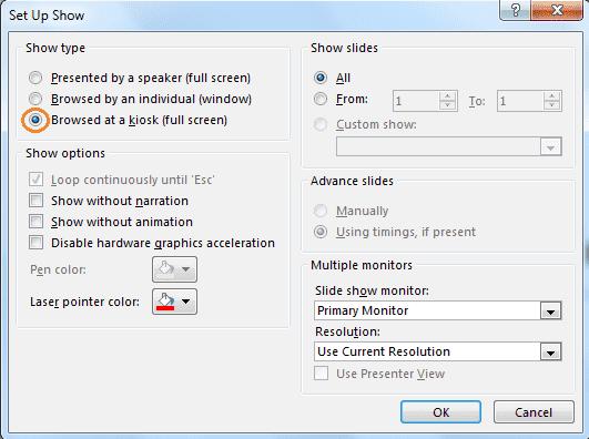PowerPoint kiosk mode setup