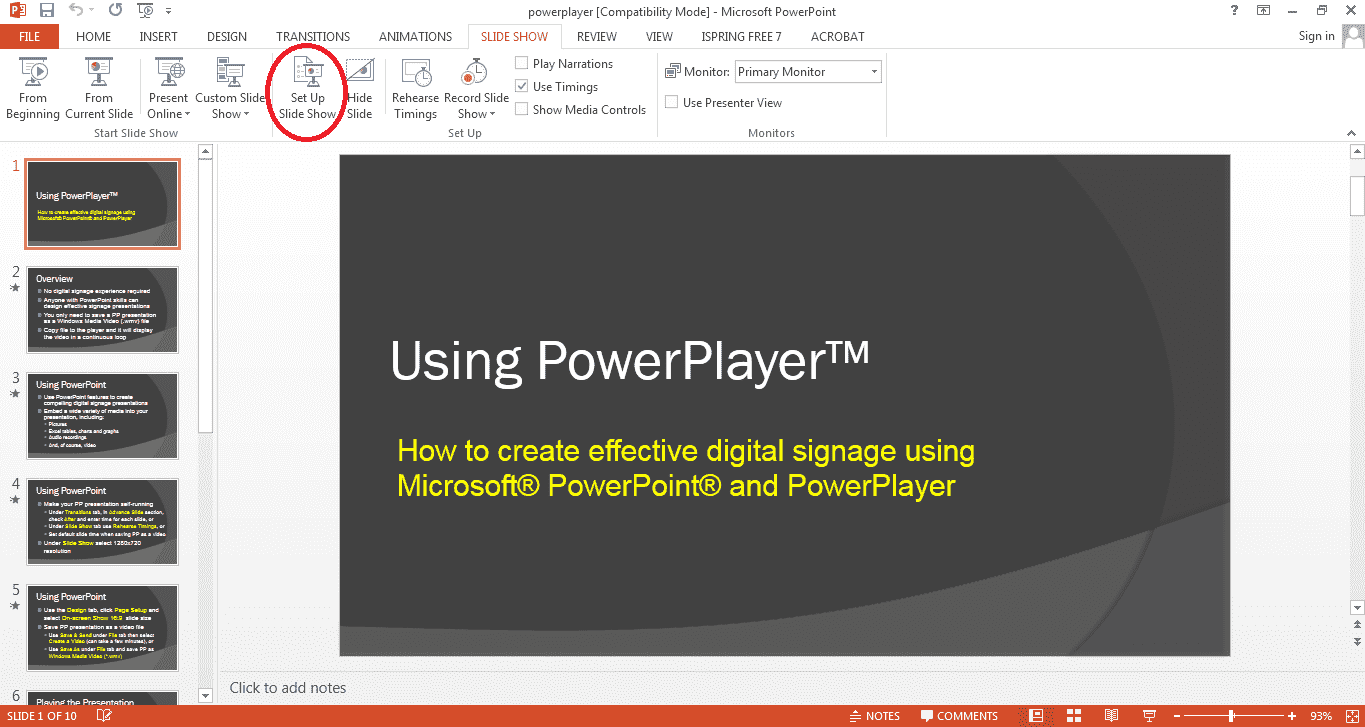 PowerPoint kiosk mode