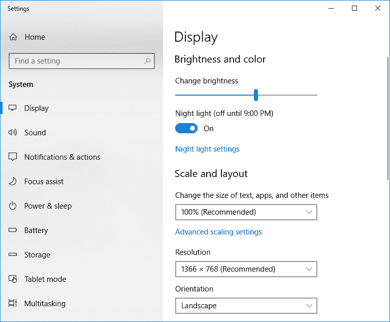 Windows display settings