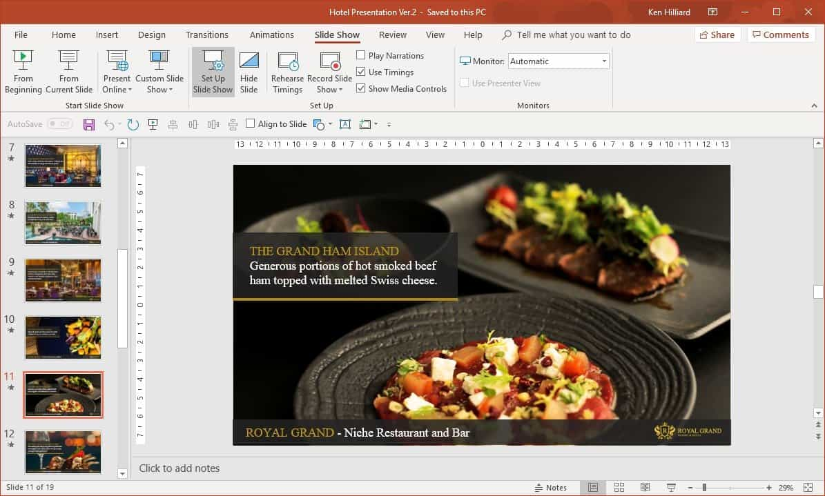 PowerPoint slideshow setup - kiosk mode